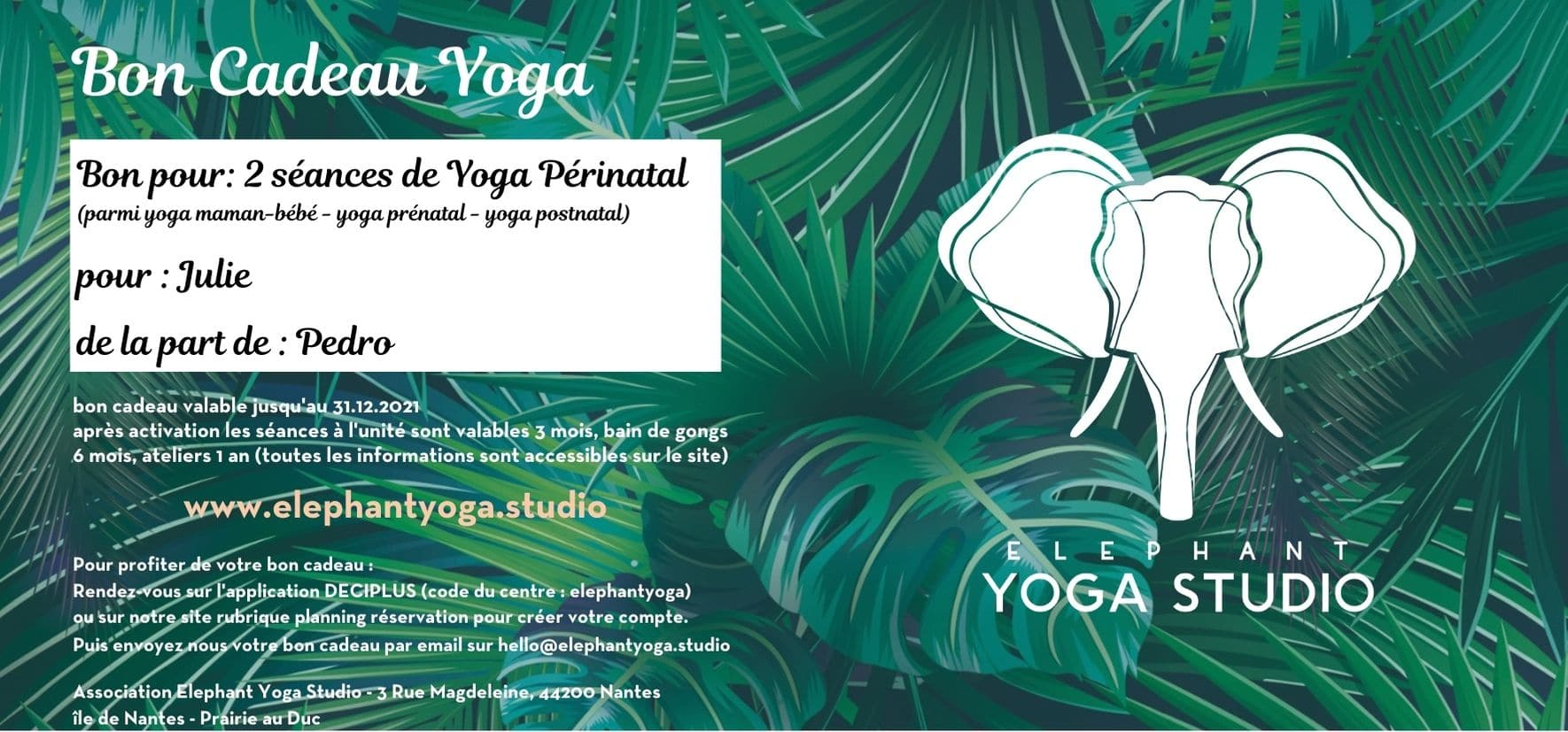 bon cadeau yoga nantes